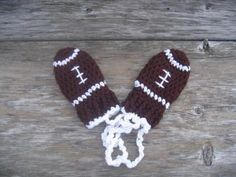 Crochet Football Thumbless Mittens by RaindropsAndDaisies for $7.00
