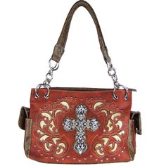 Red Rhinestone Cross Look Shoulder Handbag Concealed Carry Country Western Bling
