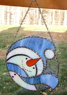 Christmas Holiday Stained Glass Suncatcher Winter by GLASSbits
