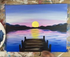 How to paint a sunset over a lake and a rustic pier. This beginner acrylic painting tutorial will guide you through the steps. Small Canvas Paintings, Easy Canvas Art, Easy Canvas Painting, Simple Acrylic Paintings, Sunset Painting Easy, Lake Painting, Watercolor Sunset, Sunset Paintings, Pastel Sunset