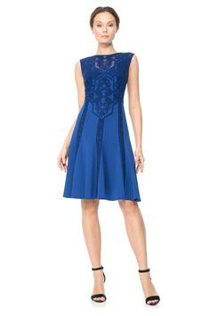 Deep Lagoon Embroidered Neoprene Dress