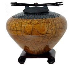 Raku Ceramic Cremation Urn in Gold with Feather Detail