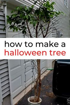 Make this spooky creepy dollar store halloween tree. Cheap halloween tree decorating ideas on a budget. paint a faux tree black and add these haunted inspired decor ideas. #hometalk Diy Halloween Tree, Halloween Bath Bombs, Halloween Shadow Box, Dollar Store Halloween, Cheap Halloween, Halloween Door, Halloween Crafts For Kids, Crafts For Kids To Make, Outdoor Halloween
