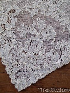 "www.Vintageblessings.com Rare Set of 12 Large French Alencon Lace Placemats 17"" x 12"" Beautiful!"