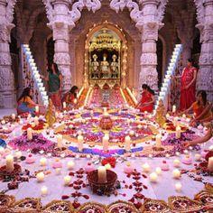 Rangoli at the Neasden Temple in London. Diwali celebrates the truimph of light over darkness.