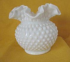 Fenton Milk Glass | Fenton Milk Glass Hobnail Vase w/Ruffled Edge (Fenton Glass) at A Time ...