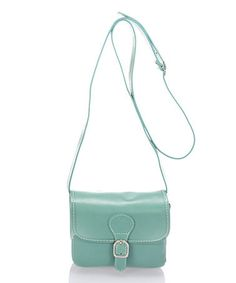Look what I found on #zulily! Turquoise Buckle-Accent Leather Crossbody #zulilyfinds