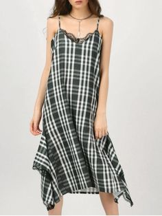 Cami Lace Panel Plaid Asymmetric Dress CHECKED: Summer Dresses | ZAFUL