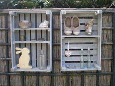 Mooi Wooden Crates, Wooden Boxes, Logo Design, Graphic Design, Yard Art, Outdoor Spaces, Garden Design, Diy, Beautiful