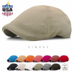8e147024fb1 Solid Cotton Gatsby Cap Mens Ivy Hat Golf Driving Summer Sun Flat Cabbie  Newsboy