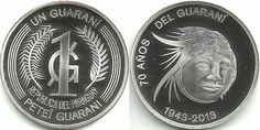 World Coin News: paraguay Paraguay 1 guarani 2013 - 70 Years of the Guarani New silver commemorative:  '70 Years of the Guarani currency'