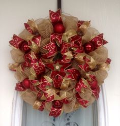 """22"""" Burlap Deco Mesh Christmas Wreath with Cranberry and Gold Ribbons and Accents and Cranberry Burlap Star"""