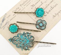 Teal Wedding Floral Hair Pins Turquoise Aqua Blue Flower Hair Slide Vintage Style Bridal Bobby Pin Set of 4 Bridesmaids Flower Girls Party