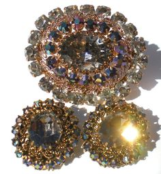 Vintage Rhinestone Brooch & Clip Earrings with by RibbonsEdge