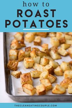 Sheet Pan Crispy Roasted Potatoes are an easy, delicious side dish! Paleo + friendly, these oven roasted potatoes are perfectly cooked + yummy! Healthy Potato Recipes, Healthy Potatoes, Oven Recipes, Kitchen Recipes, Cooking Recipes, Roasted Potato Recipes, Cooking Tips, Salad Recipes, Vegetarian Recipes