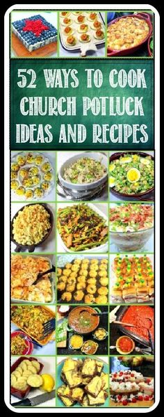 52 Church PotLuck Dishes, Ideas and Recipes... Whether these dishes end up on your family Holiday table, a neighborhood PotLuck, served at a special occasion or do indeed end up in a Church Basement, these dishes are meant to be made with Love and Care to be shared. God Bless us Everyone and ENJOY!!! .. All recipes tested and original. NOT A COLLECTION OF OTHERS' These are my photos, my comments, my RECIPES and THEY WORK!