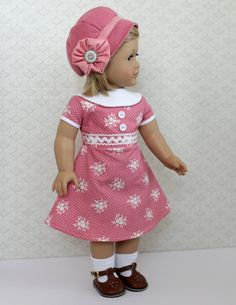 1930's Dress and Cloche made for American Girl by BrooksideLane