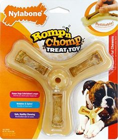 Nylabone Romp N Chomp Wolf Chicken Flavored Triple Treat Bone Dog Treat and Chew Toy ** More info could be found at the image url.