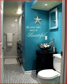 Love this aqua bathroom!! fabULous Vinyl  Uppercase Living
