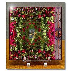 Beautiful Red Rose Garden Climbing up a Trailer Home Desk Clock