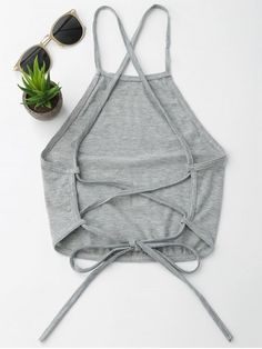 croptop outif Open Back Cropped Tank Top - GRAY S - croptop Fashion Sewing, Diy Fashion, Ideias Fashion, Fashion Online, Teen Fashion Outfits, Trendy Outfits, Cute Outfits, Cropped Tank Top, Crop Tank