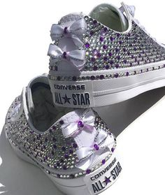 Custom Add On Bows. Customized Bows for Blinged Converse. Shoes add on. Bedazzled Converse, Custom Converse Shoes, Converse Wedding Shoes, Wedding Sneakers, Custom Shoes, Women's Converse, Rhinestone Converse, Bling Shoes, Sparkly Shoes