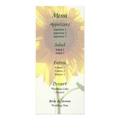 Sunflower Sunbathing Wedding Menu  by Susan Savad  -- Sunflower wedding menu that you can customize yourself. #wedding #weddingmenu #weddingmenus #customize #gettingmarried #flower #flowers #sunflower #sunflowers #yellow $0.65 per card   BULK PRICING AVAILABLE!