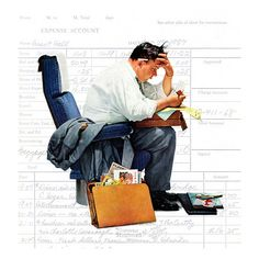 Balancing the Expense Account. Norman Rockwell. Detail from Saturday Evening Post cover November 30, 1957.