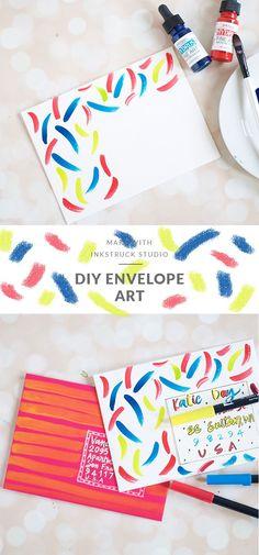 Two fun ways to create DIY mail art. Art Projects For Teens, Easy Art Projects, Crafts For Teens, Projects To Try, Diy Postcard, Mail Art Envelopes, Diy Envelope, Envelope Addressing, Canvas Art Quotes