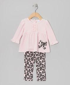 Look at this #zulilyfind! Pink Bow Velour Tunic & Leggings - Infant #zulilyfinds