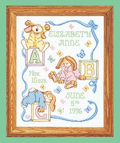 Janlynn Sleepy Bunnies Counted Birth Announcement Cross Stitch Kit. Sleepy bunnies galore! Fall asleep playing with blocks on this Counted Cross Stitch birth sa
