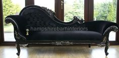 Black Silver Diamond Velvet Crystal Chaise Longue Sofa