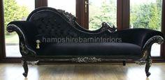 Black Silver Diamond Velvet Crystal Chaise Longue Sofa