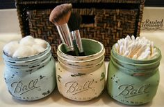 painted distressed mason jars diy - Google Search.                                        We can do mint, coral, and white and use as center pieces.