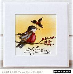 CAS Penny Black Robin's Wish framed card - bjl