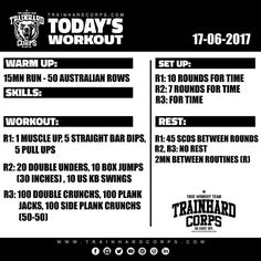 """Our """"Today's Workout"""" for #fsaturday  17-06-2017 #trainhardcorpstodaysworkout #workout #calisthenics #muscleup #pullups #straightbardips #doubleunders #boxjumps #kettlebell #abs #sixpack #wod #training #cardio #fit #motivation #healthy #muscle #routine #bodyweighttraining #bodytransformation"""