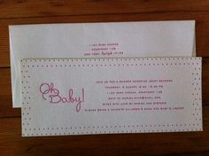 letterpress baby shower invitation with lime green edge paint on 140# stock