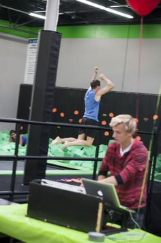 DJ Bedhead spinning at Vertical Aerobics open house. Check out foam pit challenge in the background!!