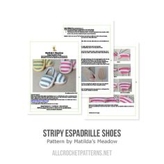 Stripy espadrille shoes crochet pattern by Matilda's Meadow