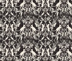 Victorian cat damask  fabric by kociara on Spoonflower - custom fabric