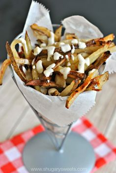 Baked French Fries (with a sweet cinnamon sugar flavor) dipped in a warm Blue cheese sauce. THIS is the snack you crave! | Shugary Sweets