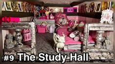 The STUDY HALL! This common area of our 50+ room Monster High doll house is also the bedroom of Rochelle Goyle. Decorated In honor of her Paris Scaris doll theme. The ghoul's and manster's to their studying in this hall, literally! http://www.superbuddiesforever.com/ #monsterhighdollhouse