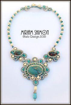 Serpentine Cabochon Soutache necklace Mint Cream by MiriamShimon