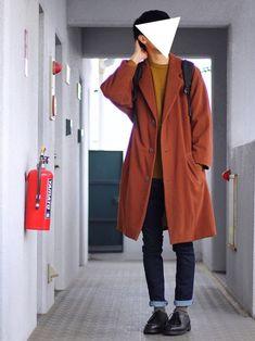 ころんさんのコーディネート Normcore, Terracotta, Coat, How To Wear, Jackets, Style, Fashion, Down Jackets, Swag