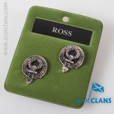 Ross Clan Crest Cufflinks. Free worldwide shipping available.