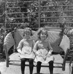 """Marilyn Granas (Shirley's """"Stand In"""") and Shirley Temple on the set of 'Now and Forever' (1934)"""