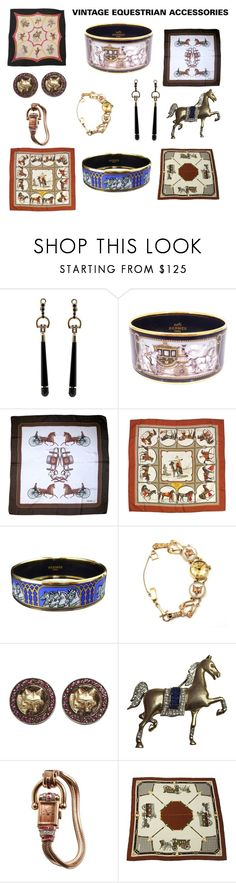 """""""Vintage Equestrian Accessories"""" by scolab ❤ liked on Polyvore featuring Gucci, Hermès, CÉLINE, Baume & Mercier, Helen Ringus, Bulova and vintage"""