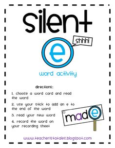 Whatever you call it. silent e, magic e, bossy e. this station will help your students practice the skill of adding an e to the end of words. Word Work Activities, Reading Activities, Teaching Reading, Free Activities, Literacy Activities, Vowel Activities, Reading Tutoring, Reading Tips, Literacy Stations
