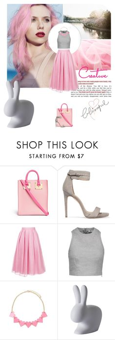 """Pink & Grey"" by serepunky ❤ liked on Polyvore featuring Sophie Hulme, Halston Heritage, Jupe By Jackie, T By Alexander Wang, Forever 21 and Qeeboo"