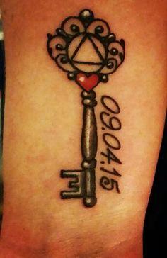AA sobriety key tattoo